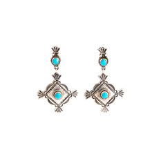 Burnished Silver Turquoise Earrings_NA0720E09