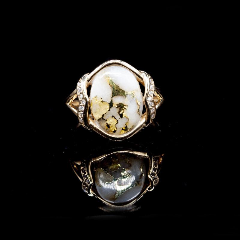 Gold Quartz Ring - RL1107DQ - 6.75