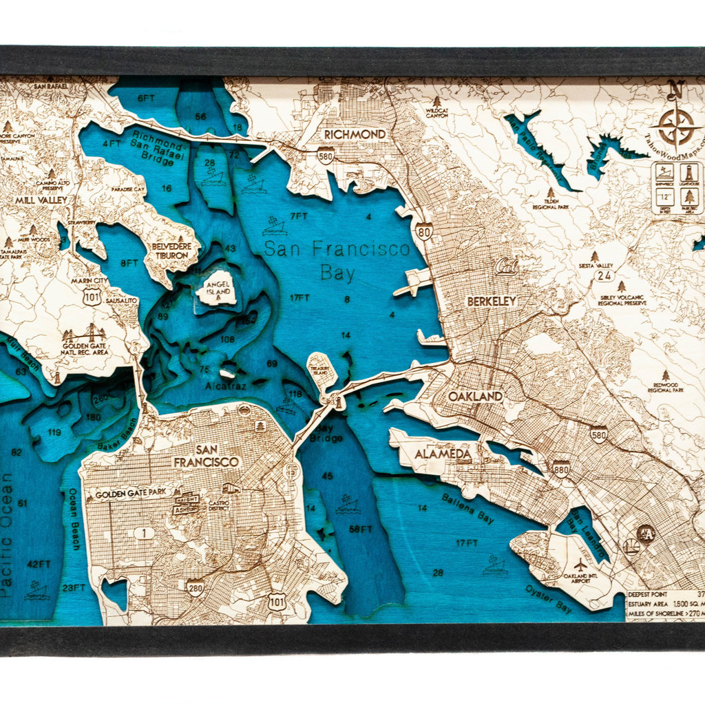 Tahoe Wood Maps Bay Area Small