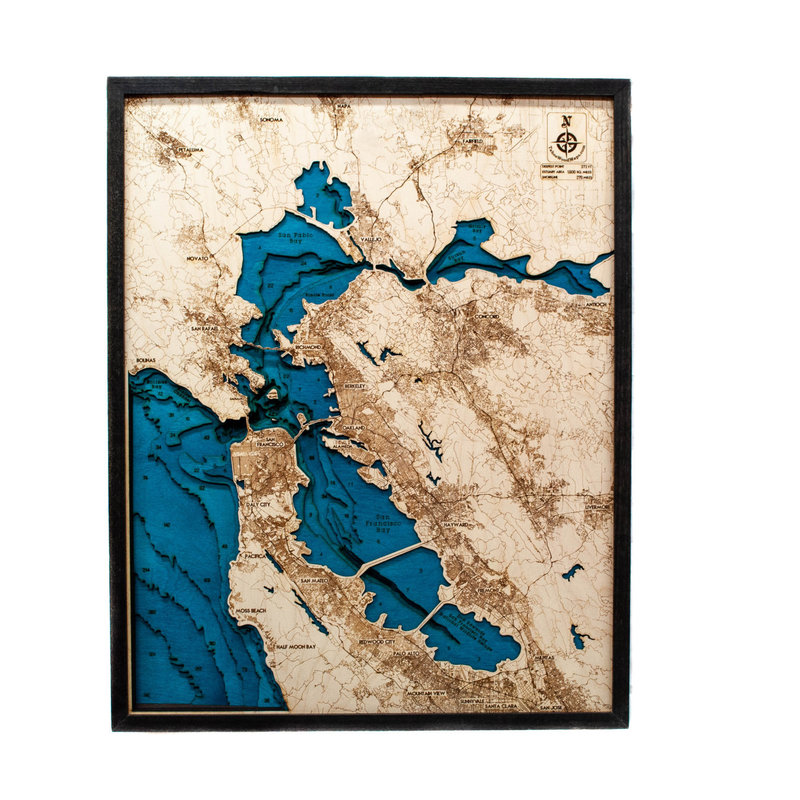 Tahoe Wood Maps Bay Area Large