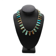 "Turq. Necklace 33 Stone - 16"""
