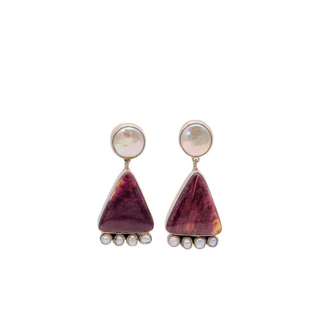 Federico Spiny Oyster and Pearl F.J. earrings