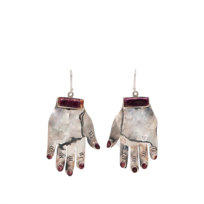Federico Federico Purple Spiny Oyster Hand Earrings