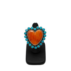 Spiny Oyster Turquoise Heart Ring