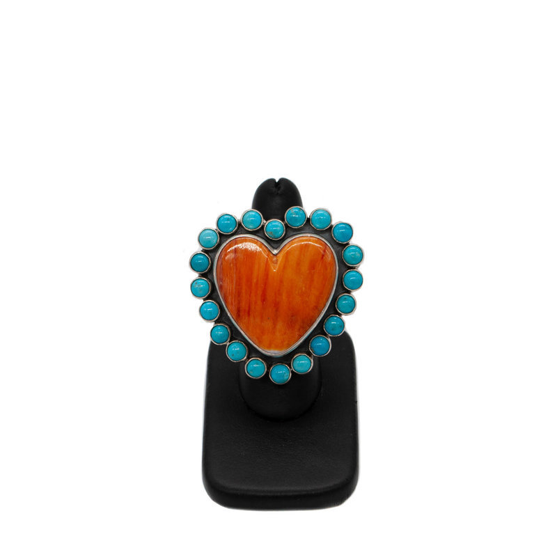 Spiny Oyster & Turq. Heart Ring