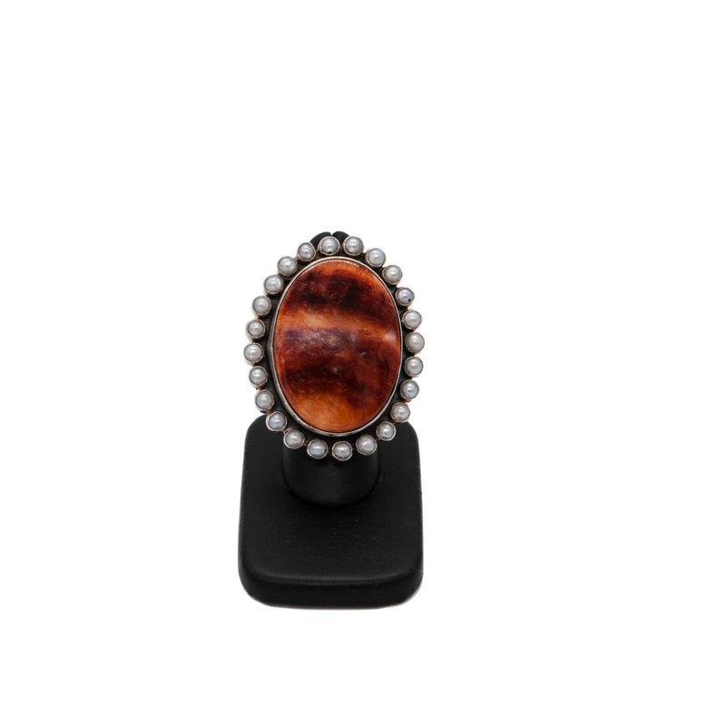 Orange Spiny Oyster & Pearl Ring
