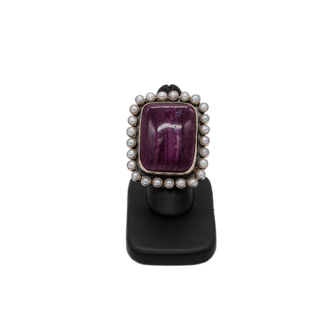 Purple Spiny & Pearl Ring