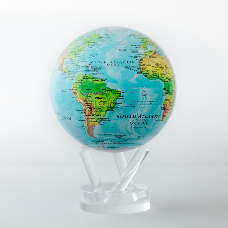 """Relief Map Blue Globe 4.5"""""""