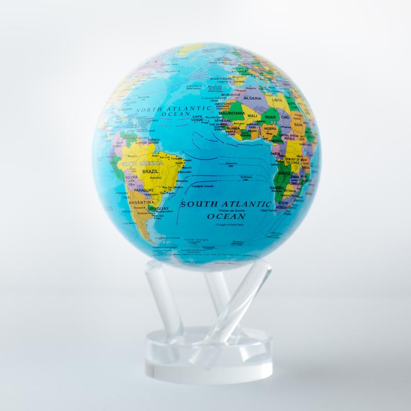 "Political Map Blue Globe 4.5"""