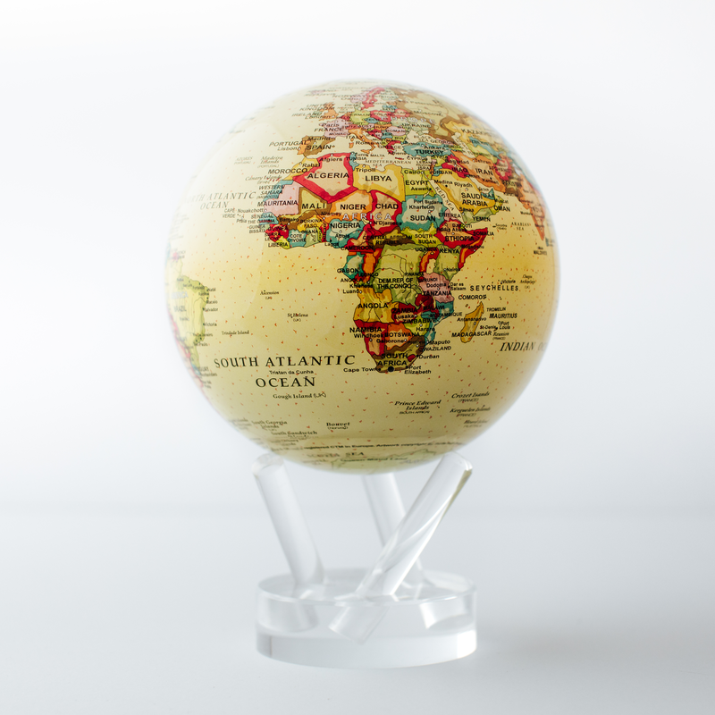 """Political Map Yellow Globes 4.5"""""""