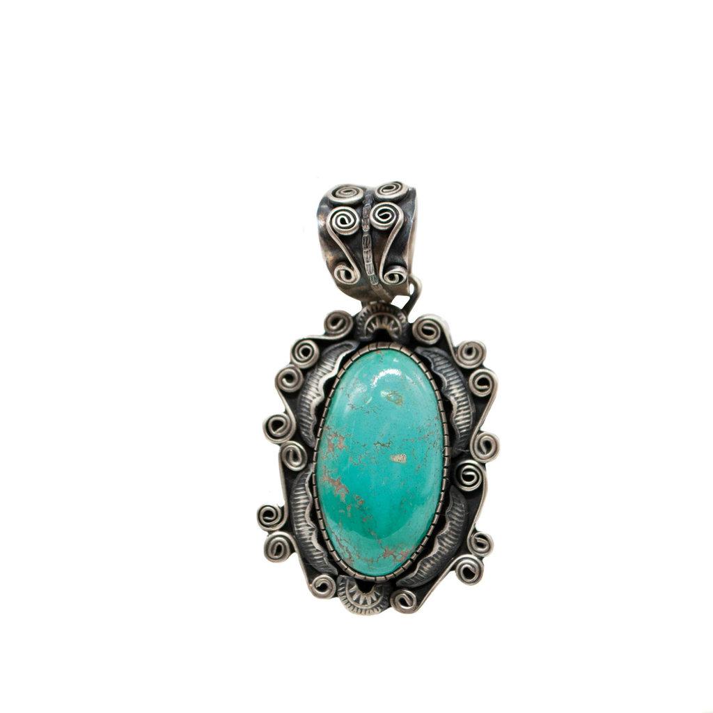 Turquoise Silver Pendant - L J