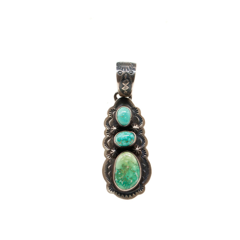 Three Vertical Turquoise Stones Pendant