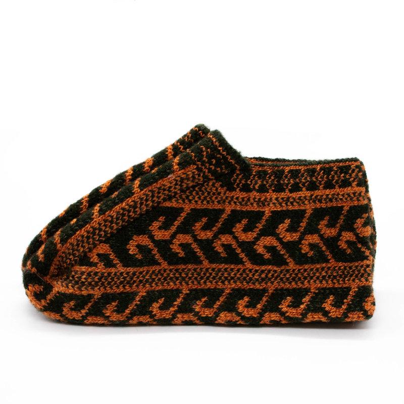 Green/Orange Icelandic Wool Slippers