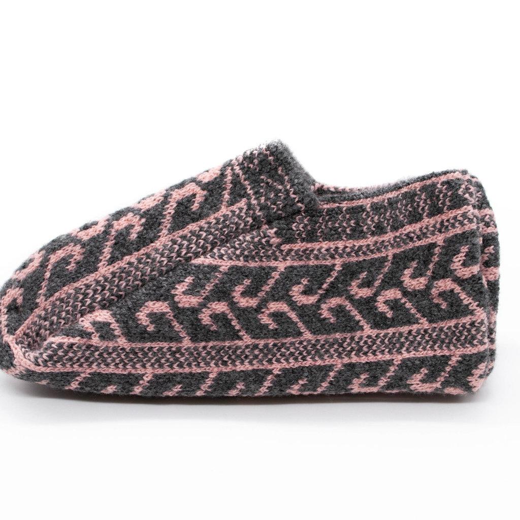 Gray/Pink Icelandic Wool Slippers
