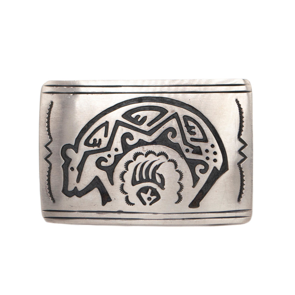 """3""""x 2"""" Overlay Burnished Silver Buckle"""