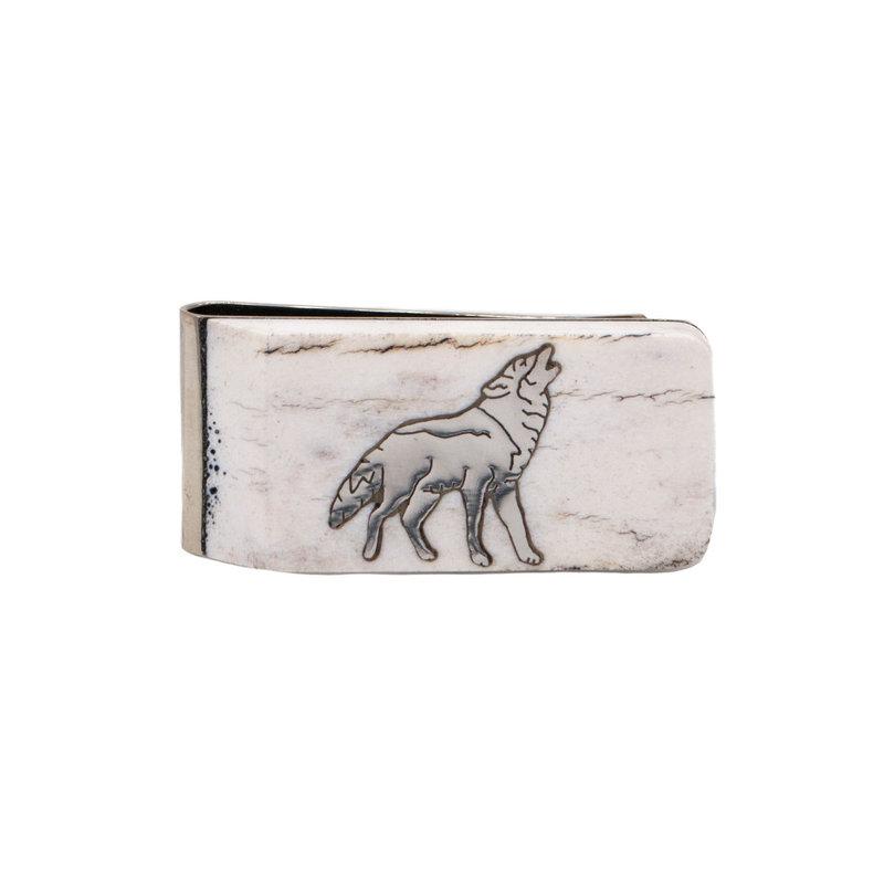 Antler Money Clip - Wolf Howling