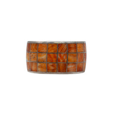 "Federico Orange Spiny Oyster Silver Braclet 7.5"" (3 row smooth inlay)"