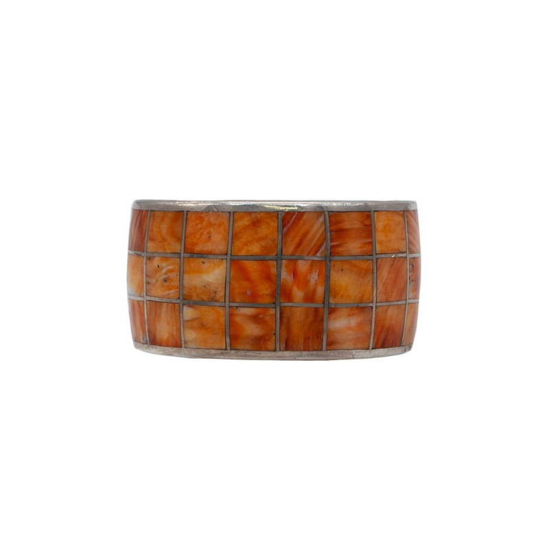 """Federico Orange Spiny Oyster Silver Braclet 7.5"""" (3 row smooth inlay)"""