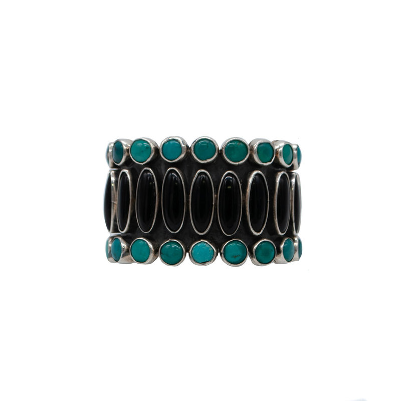 "Federico JK9 Onyx Turquoise Silver Braclet  5.5""wrist"