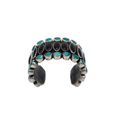 "Federico JK9 Onyx Turquoise Silver Braclet  5.5""wrist"
