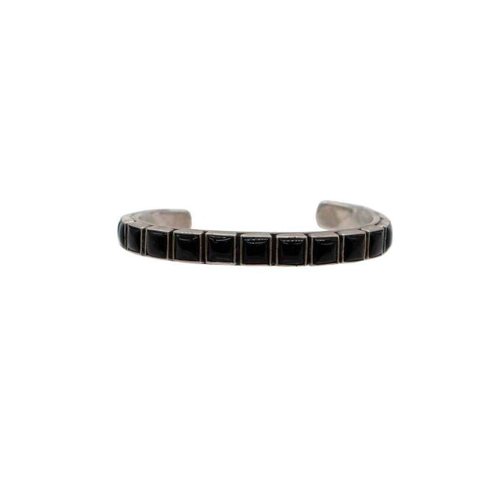 "Federico Onyx Silver Braclet 6 1/4"" wrist"