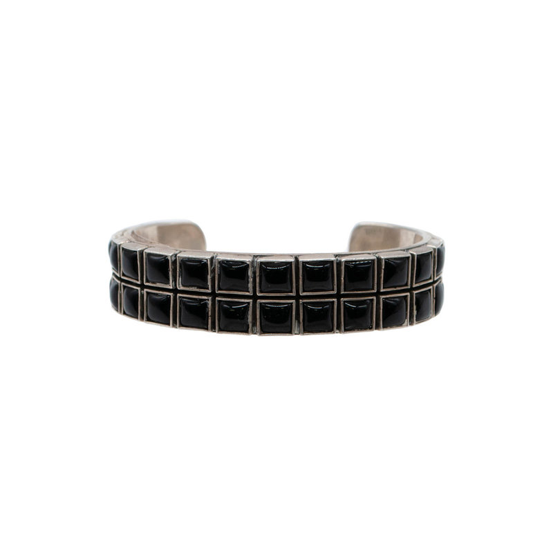 "Federico Onyx and Silver Braclet 6.25"" 2 rows"