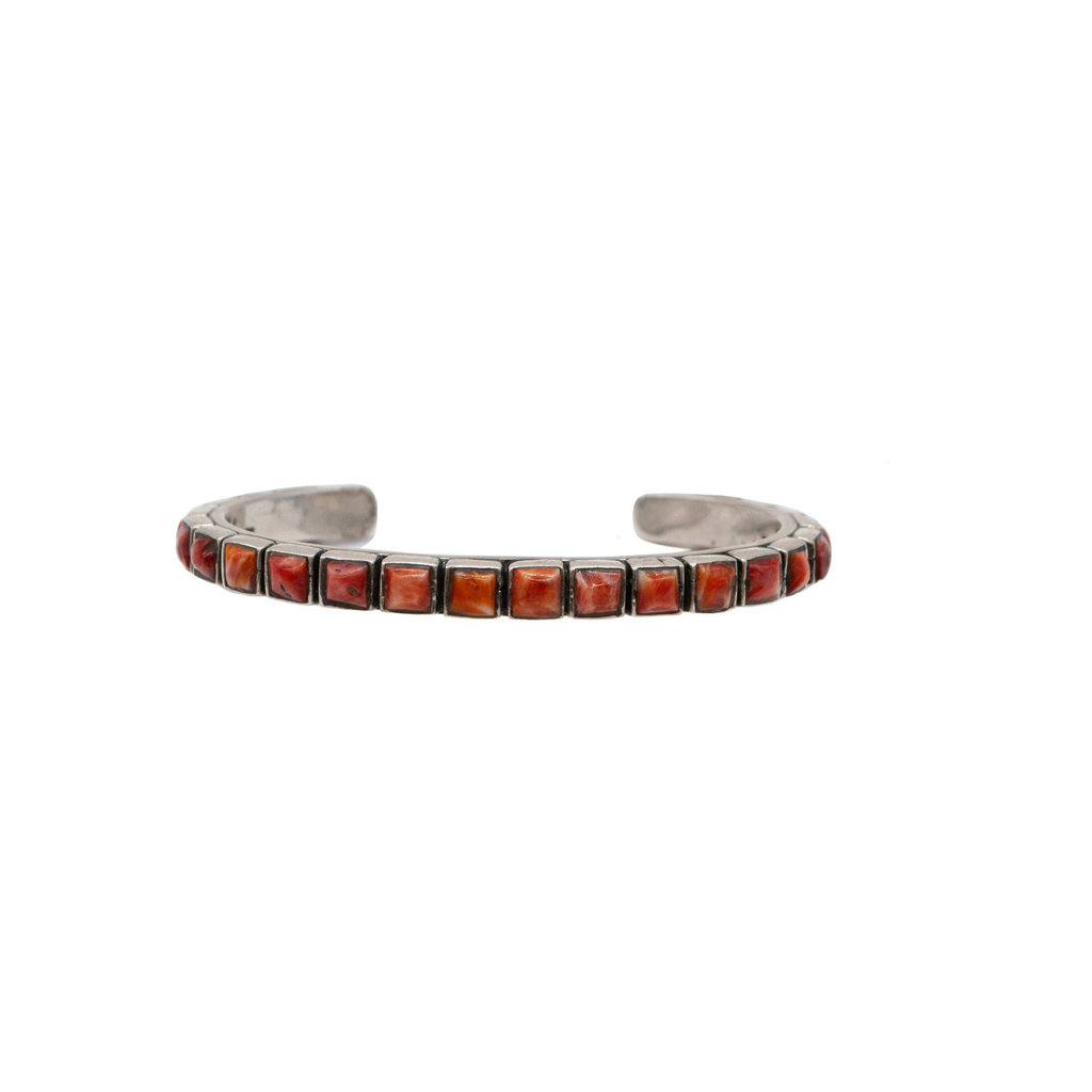 """Federico Spiny Oyster Silver Braclet Red 6.25"""""""
