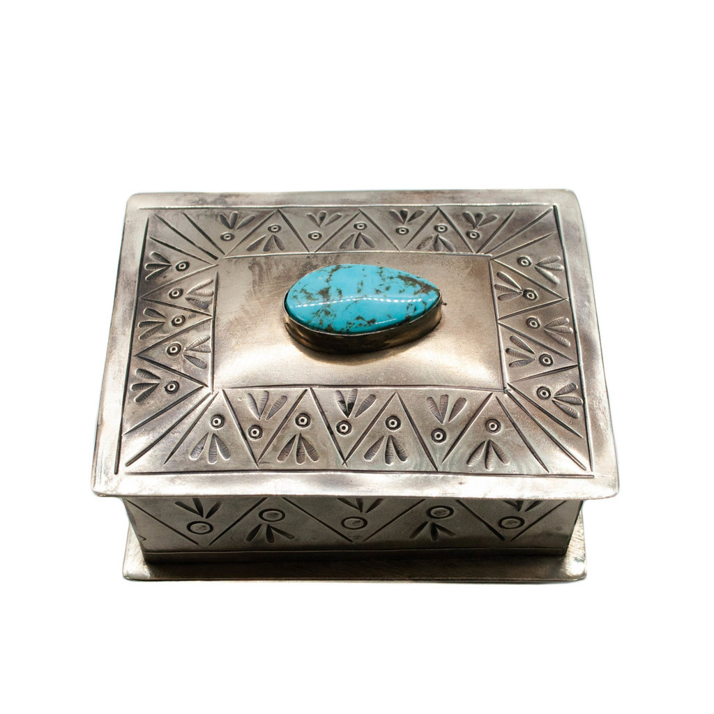 German Silver and Turquoise Box