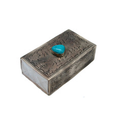 Stamped Cover Matchbox with Turquoise