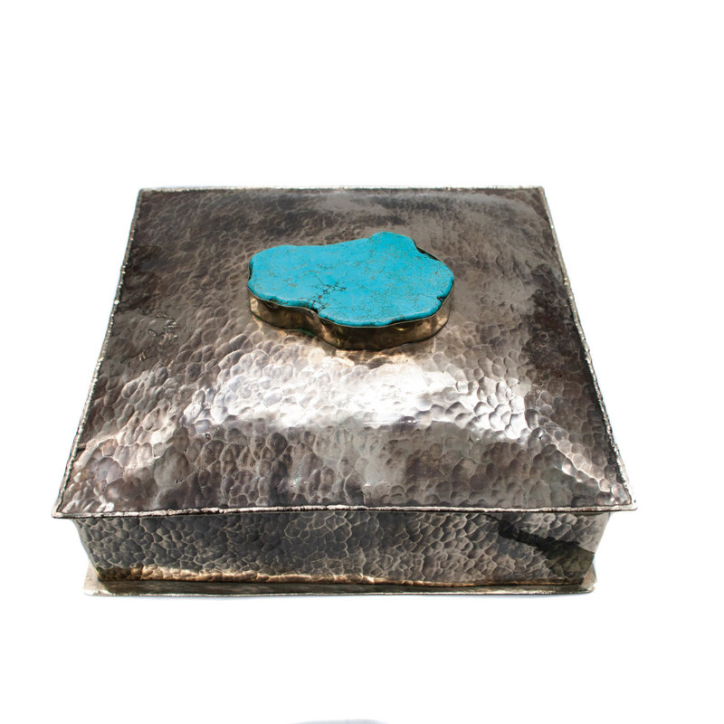 8 x 8 Square Box w/ Dimpless w/ Large Turquoise