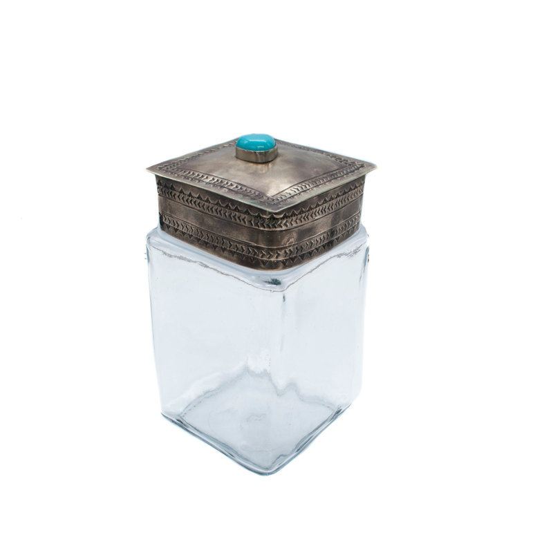 Stamped Lid w/ Turquoise Glass Jar