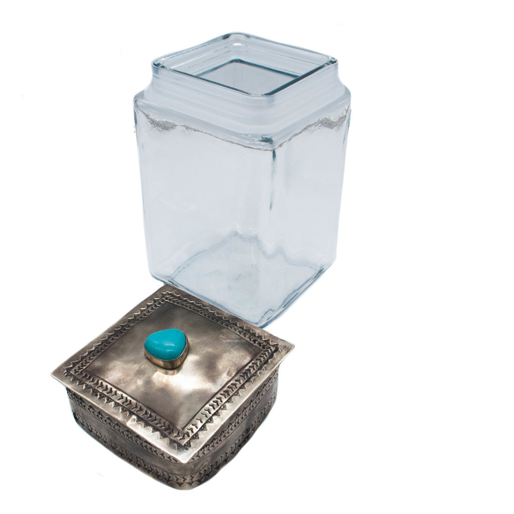 Stamped Lid w/turq. glass jar