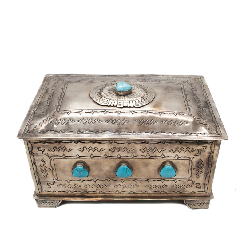 9 Stone German Silver and Turquoise Box