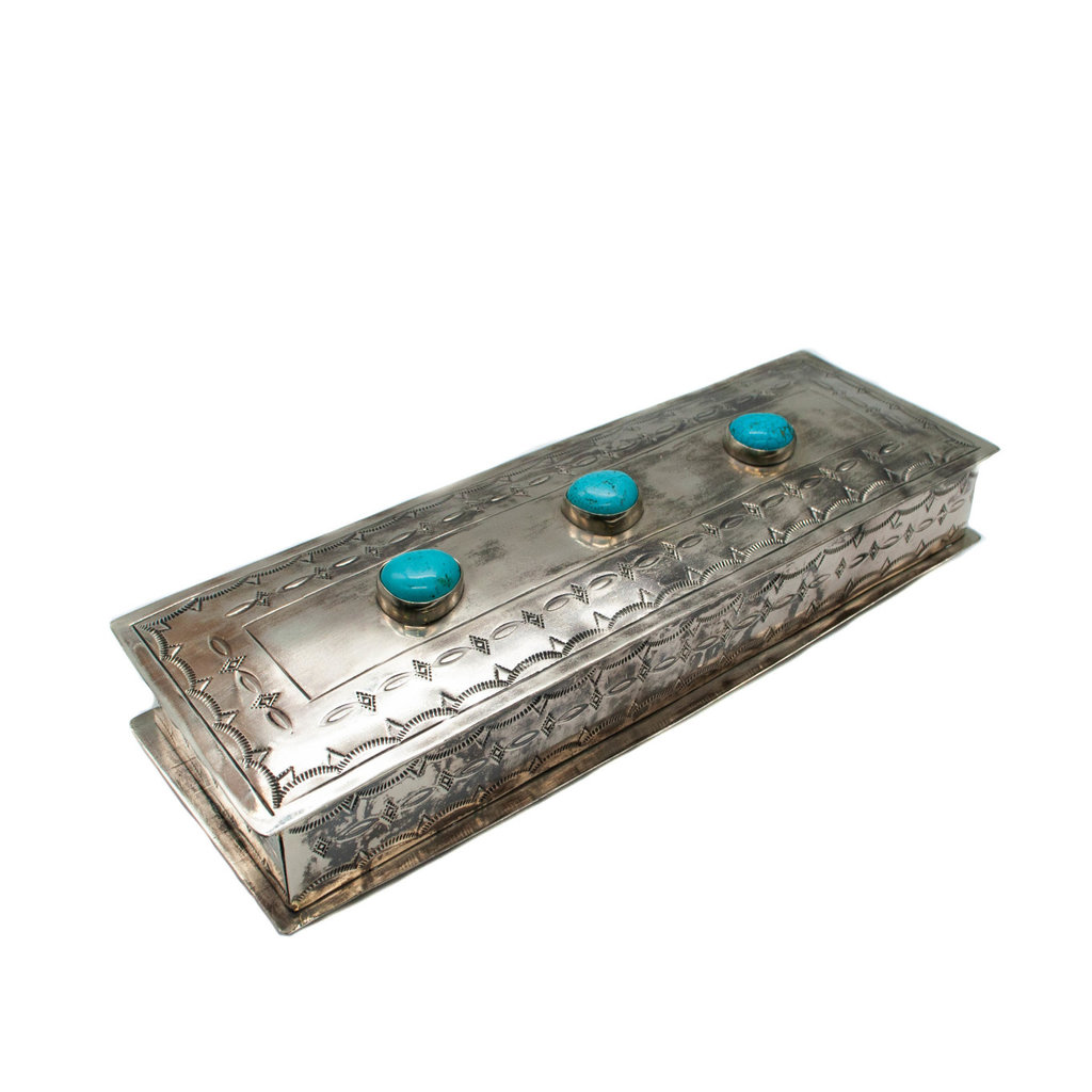Long Stamped Box with 3 Turquoise Stones
