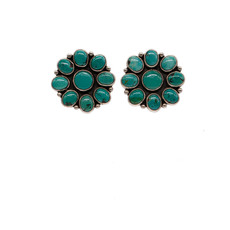 Turquoise and Silver Flower Post Earrings