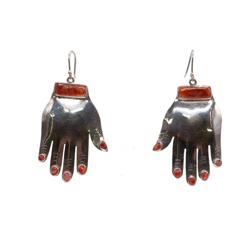 Orange Spiny Hand Federico Earrings