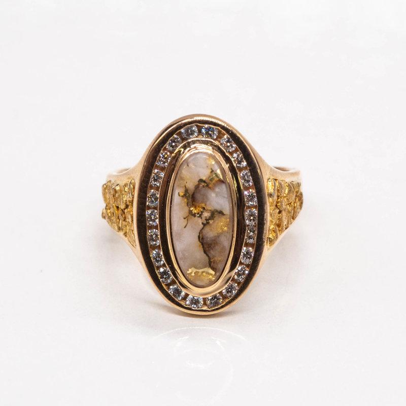 Gold Quartz Ring with Diamonds - 7.75