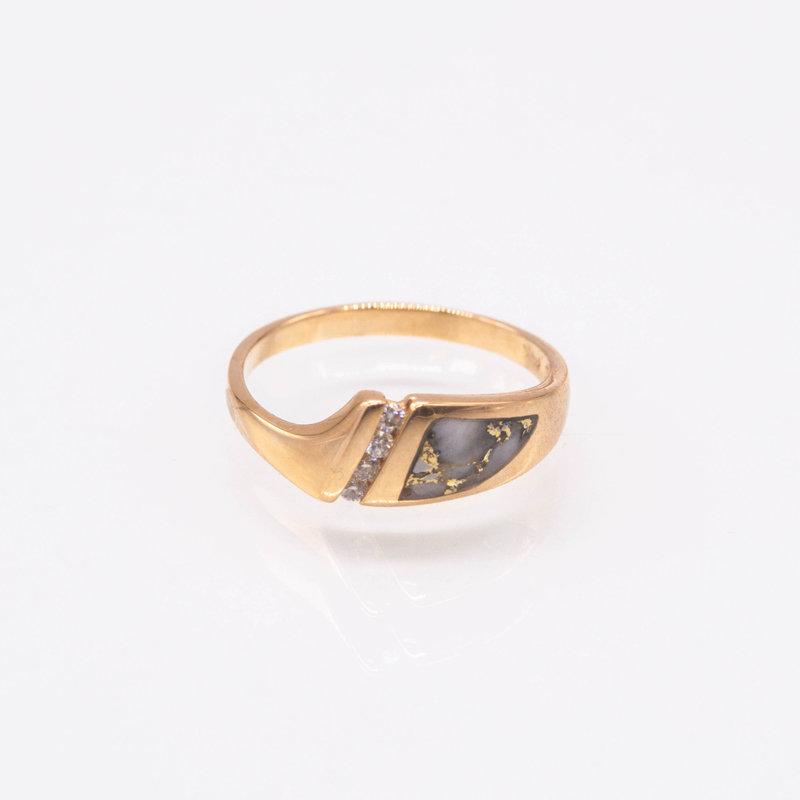 GOLD QUARTZ RING - RL1058DQ -  4/.02CT - 7.5