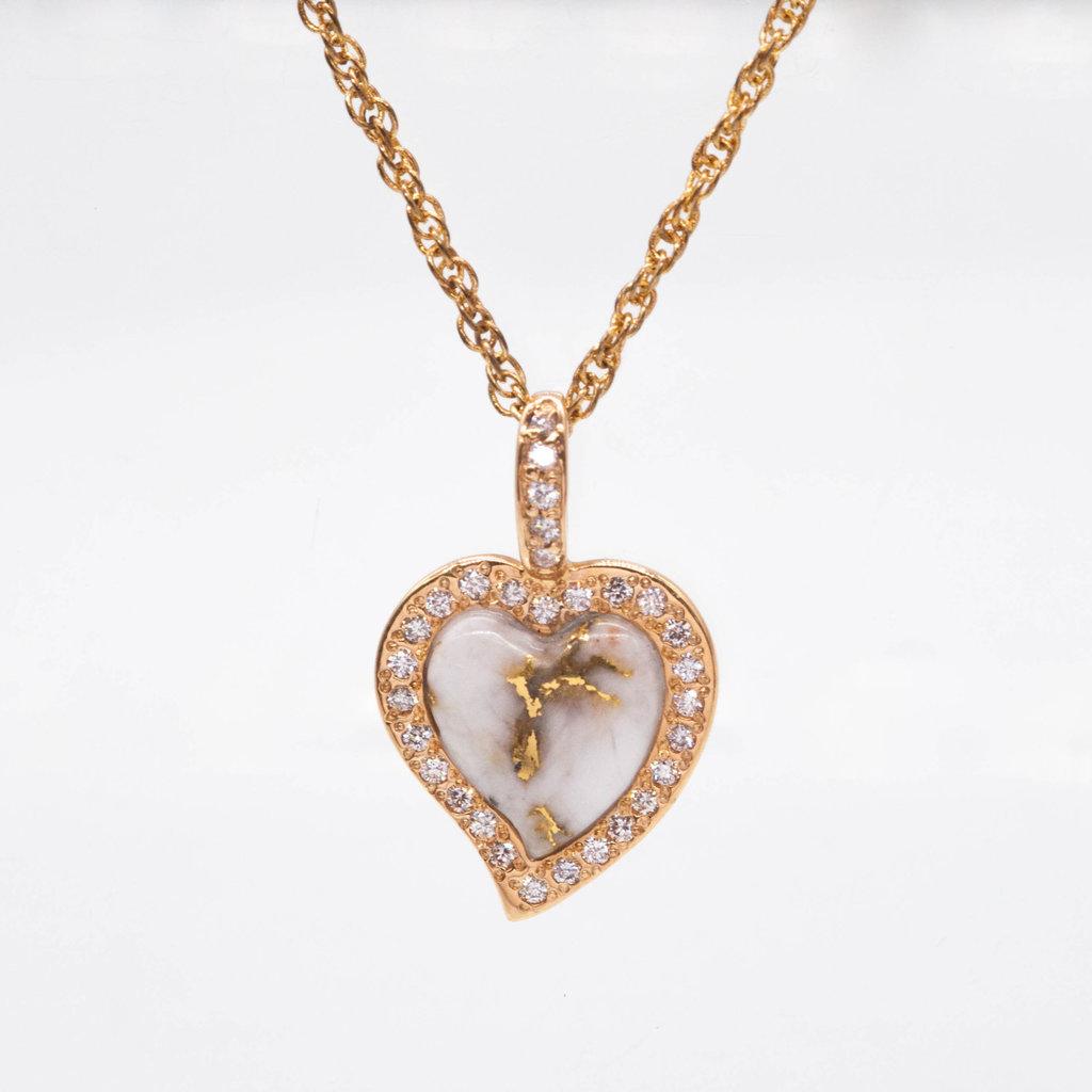Gold Quartz Pendant w/diamonds PH12DQ