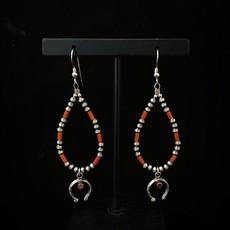 Red coral navajo earrings