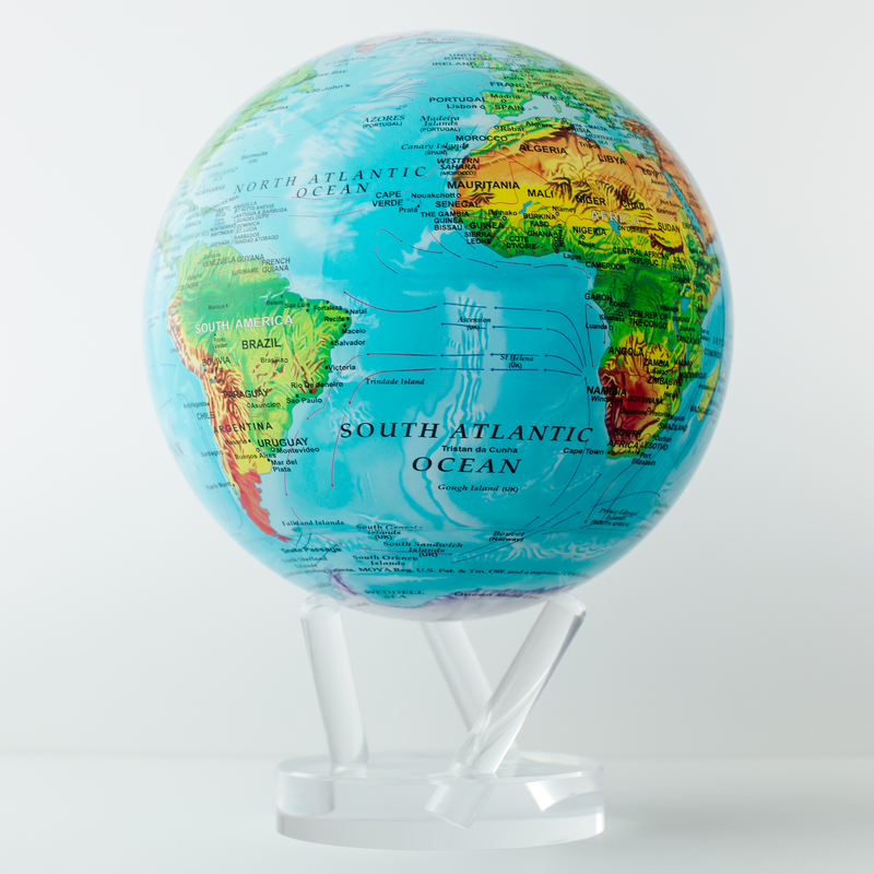 """Relief Map Blue Globe 8.5"""""""