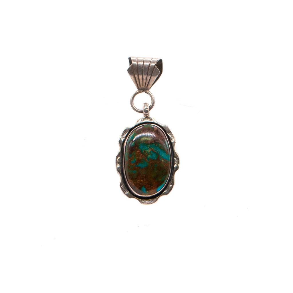Oval Heavy Matrix Boulder Turquoise Pendant