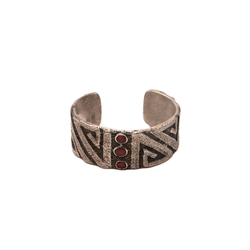 """Sandcast Cuff with 3 Red Coral Stones 6.5"""""""