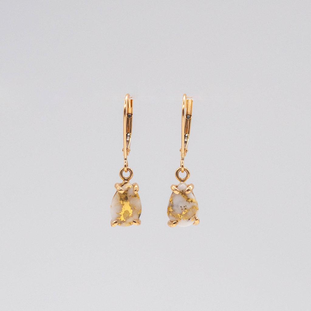 Gold Quartz Earrings  E10*7Q/LB