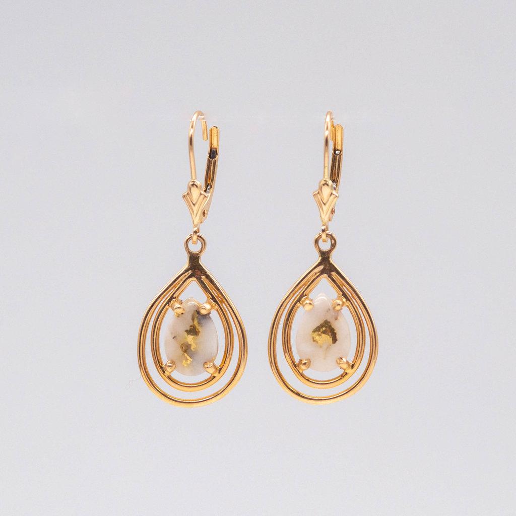 Gold Quartz Earrings EN1076XSQ/LB