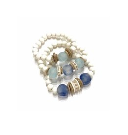 Sea Blue/White Stack Bracelets