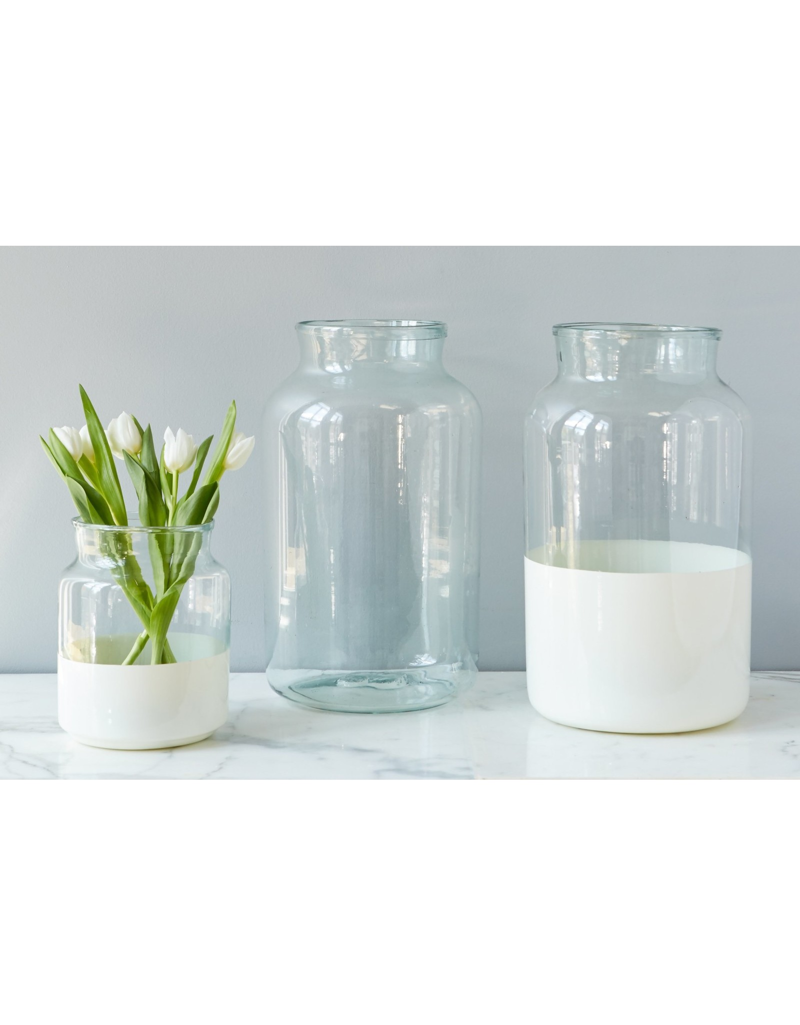 White Dipped Mason Jar Large