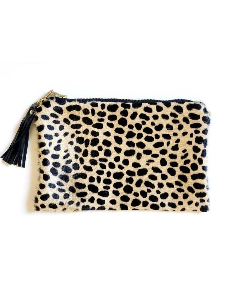 Hair on Hide Clutch : Cheetah Print Cow Hide