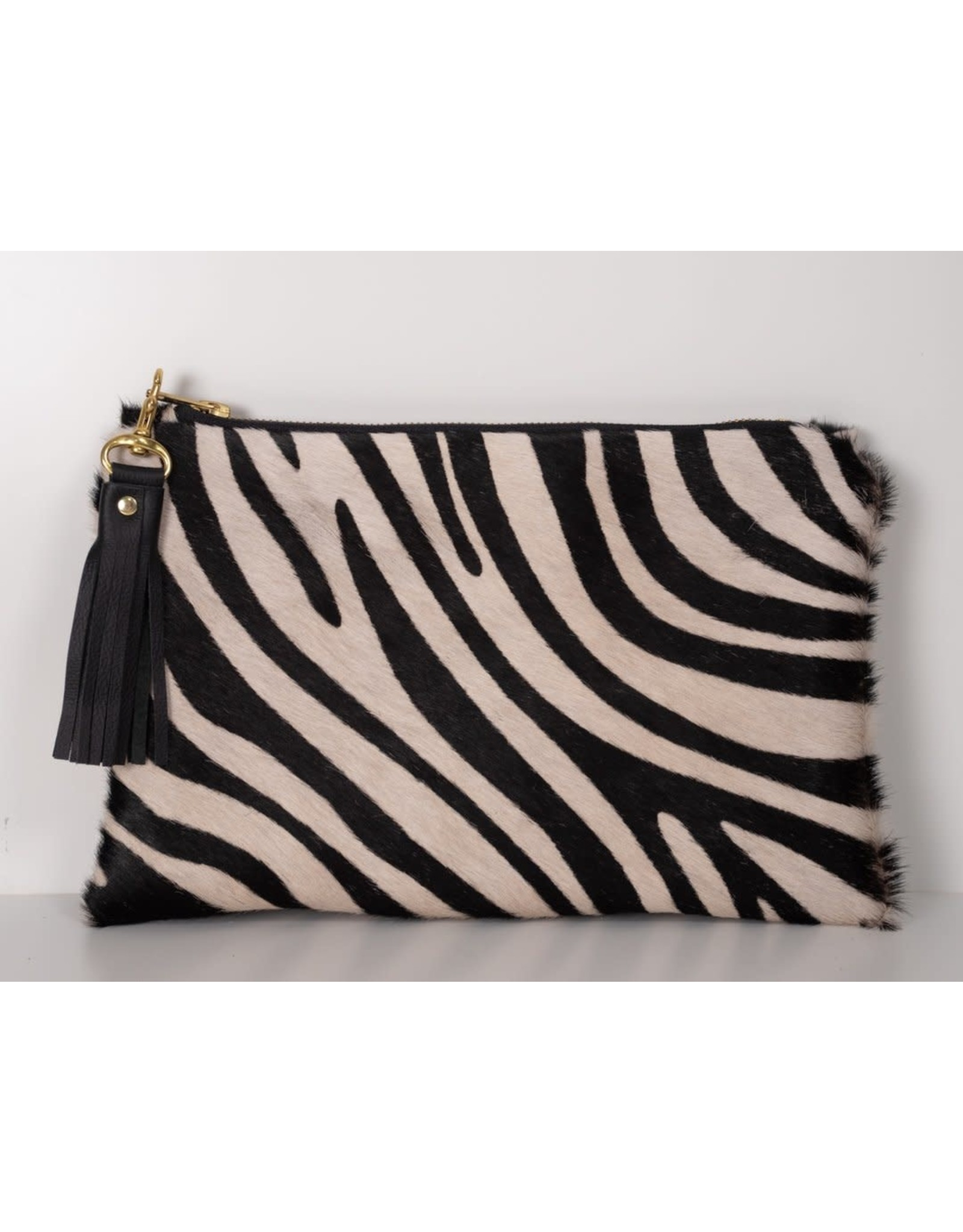 Eloise Hair on Hide Clutch : Zebra Print Cowhide