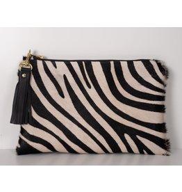 Eloise Hair on Hide Clutch : Zebra Print Cowhide